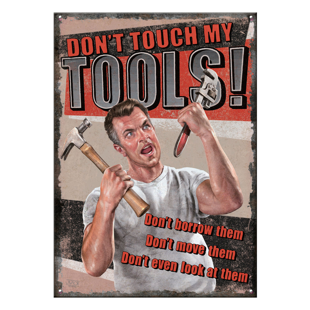 Metal Tin Signs, Funny, Vintage, Personalized 12-Inch x 17-Inch - Tool Rules
