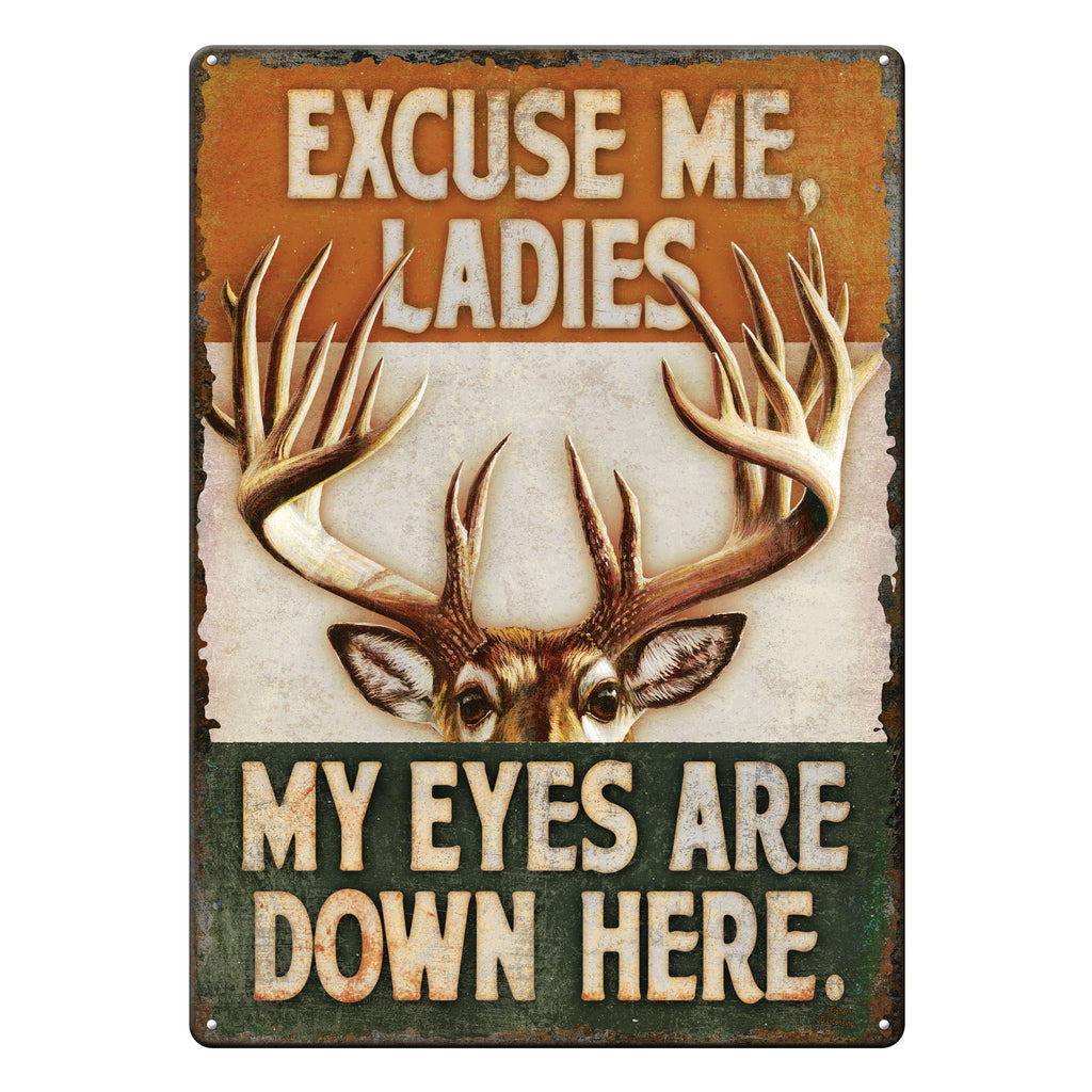 Metal Tin Signs, Funny, Vintage, Personalized 12-Inch x 17-Inch - Eyes Down