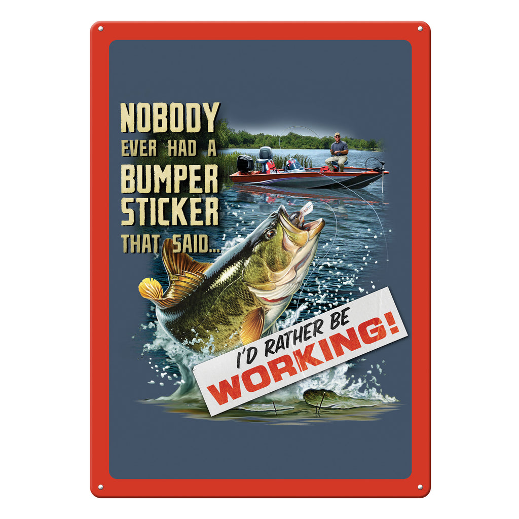Metal Tin Signs, Funny, Vintage, Personalized 12-Inch x 17-Inch - Fishin Bumper Sticker