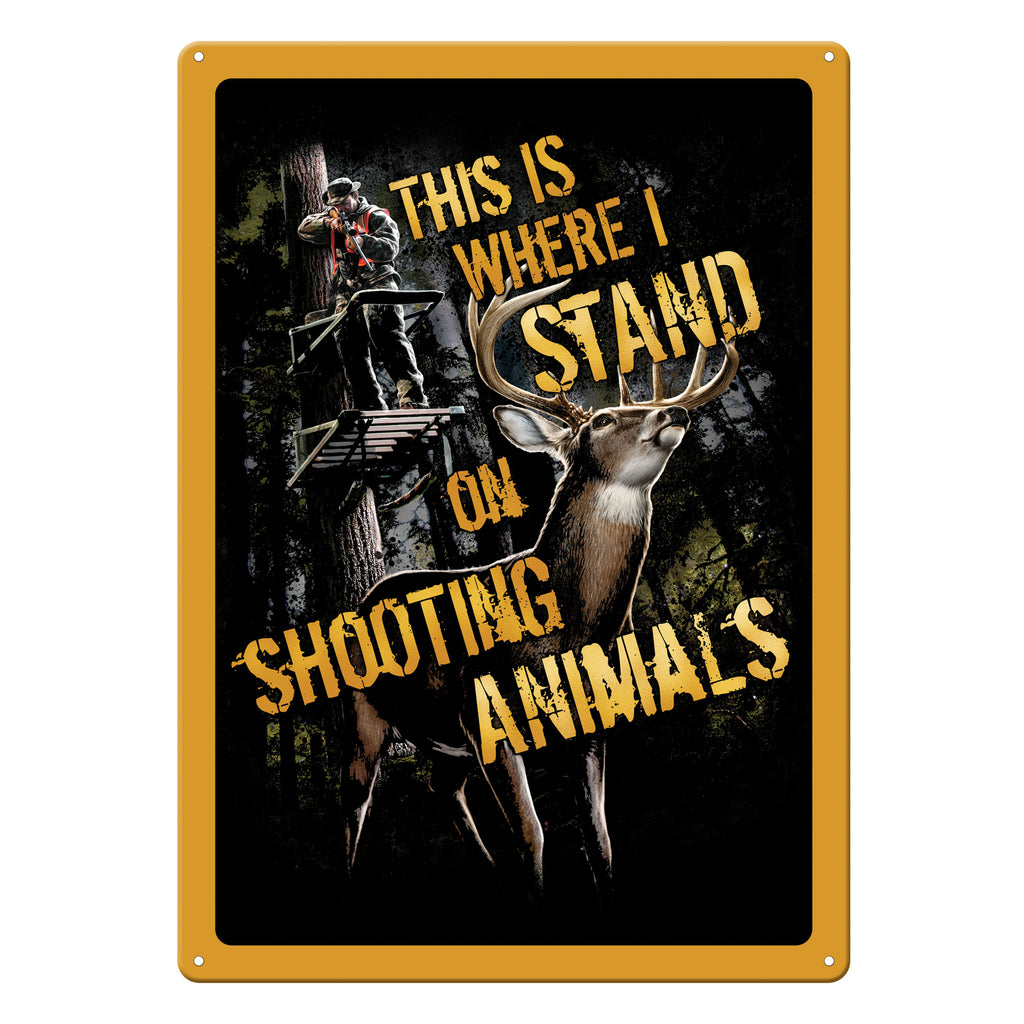 Metal Tin Signs, Funny, Vintage, Personalized 12-Inch x 17-Inch - Shootin Animals