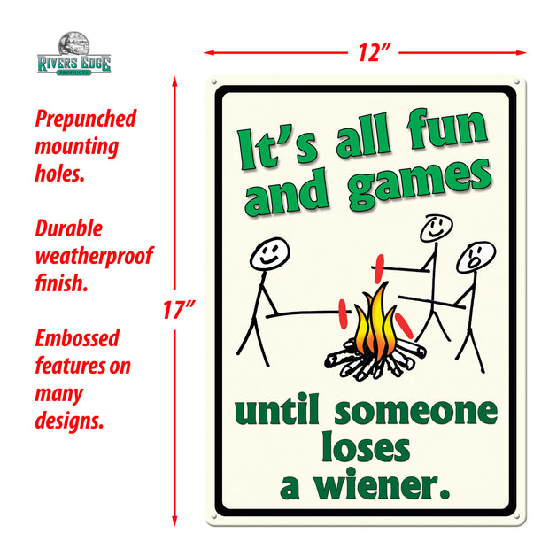 Tin Sign 12in x 17in - Its All Fun and Games