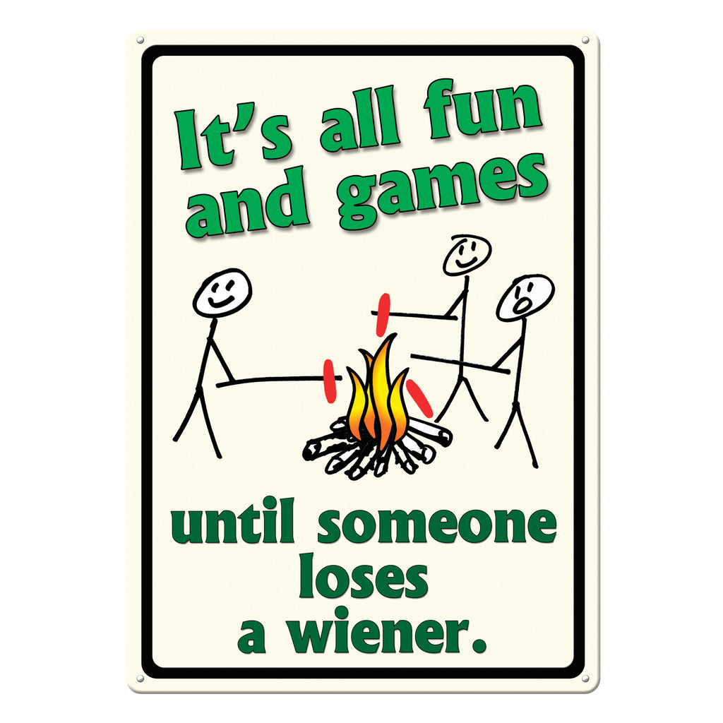 Metal Tin Signs, Funny, Vintage, Personalized 12-Inch x 17-Inch - Its All Fun and Games
