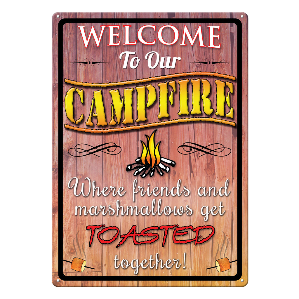 Metal Tin Signs, Funny, Vintage, Personalized 12-Inch x 17-Inch - Welcome To Campfire