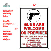 Tin Sign 12in x 17in - Guns Are Welcome