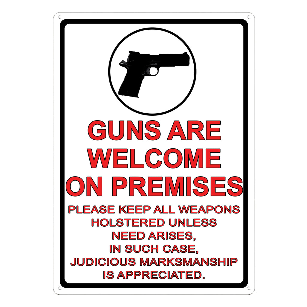 Metal Tin Signs, Funny, Vintage, Personalized 12-Inch x 17-Inch - Guns Are Welcome