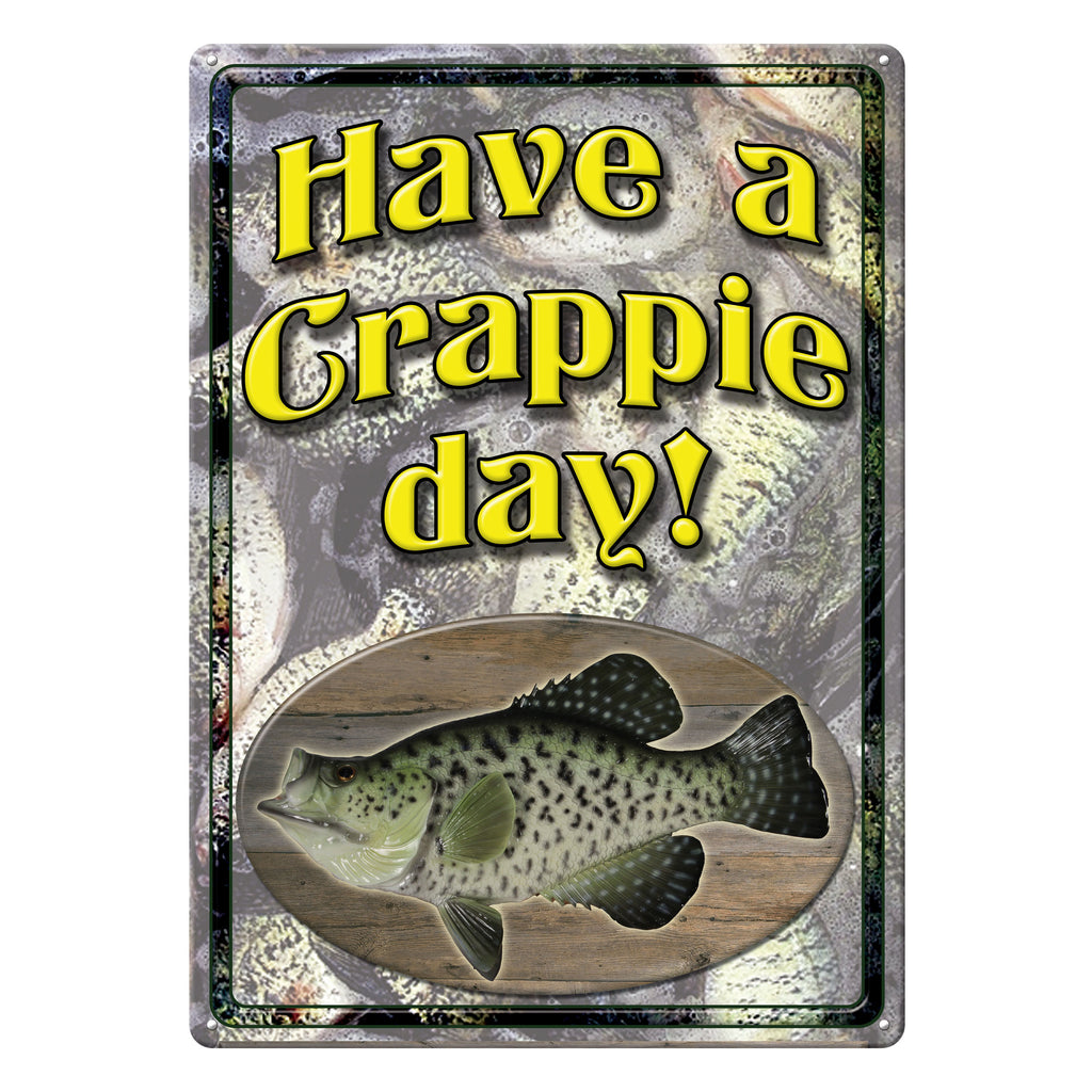 Metal Tin Signs, Funny, Vintage, Personalized 12-Inch x 17-Inch - Crappie