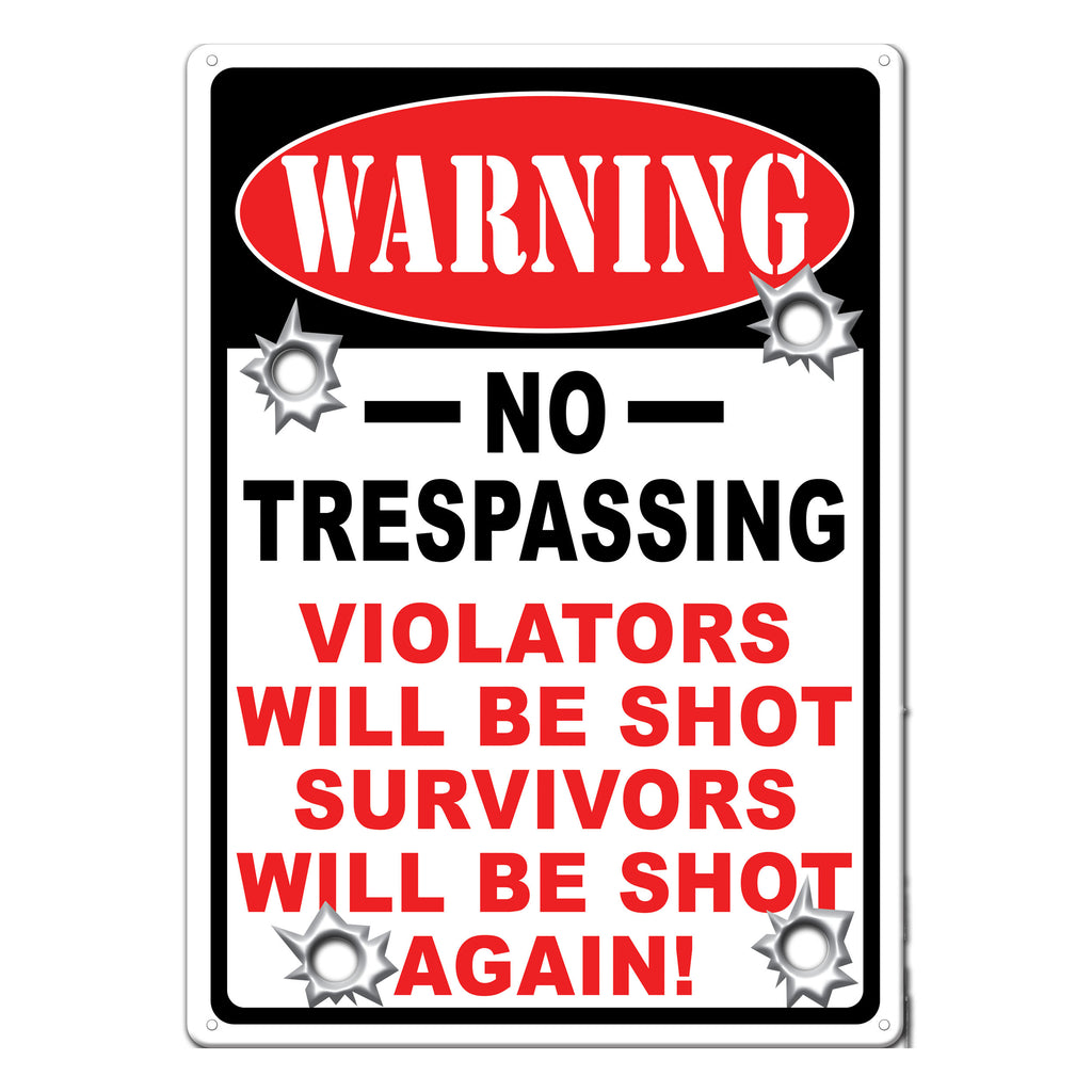 Metal Tin Signs, Funny, Vintage, Personalized 12-Inch x 17-Inch - Warning No Trespassing
