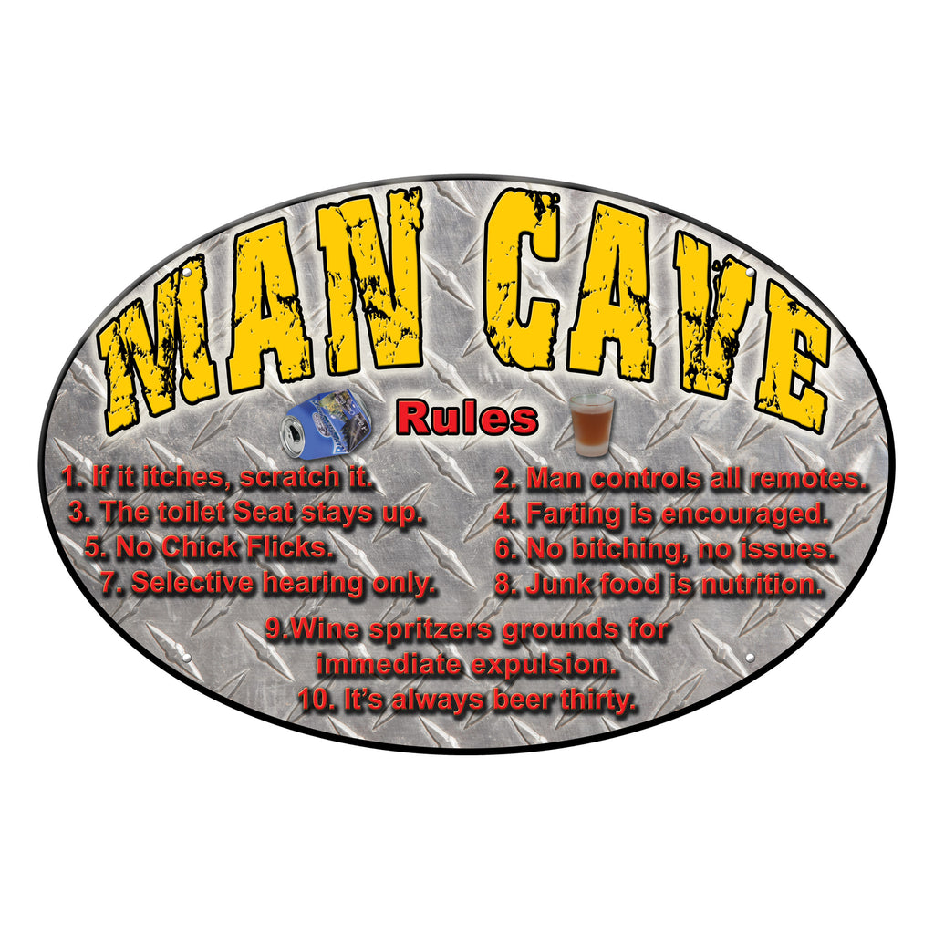 Metal Tin Signs, Funny, Vintage, Personalized 12-Inch x 17-Inch - Man Cave Rules