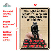 Tin Sign 12in x 17in - Right to Bear Arms