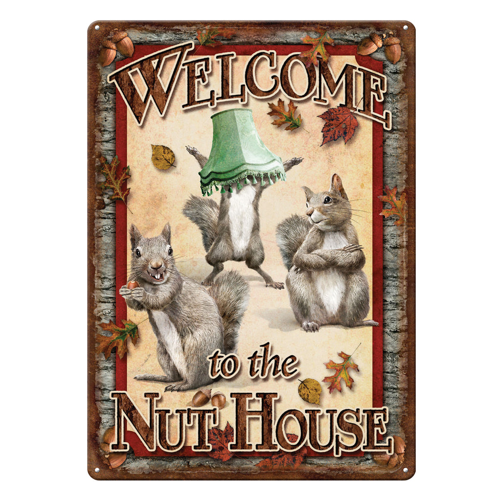 Metal Tin Signs, Funny, Vintage, Personalized 12-Inch x 17-Inch - Nut House