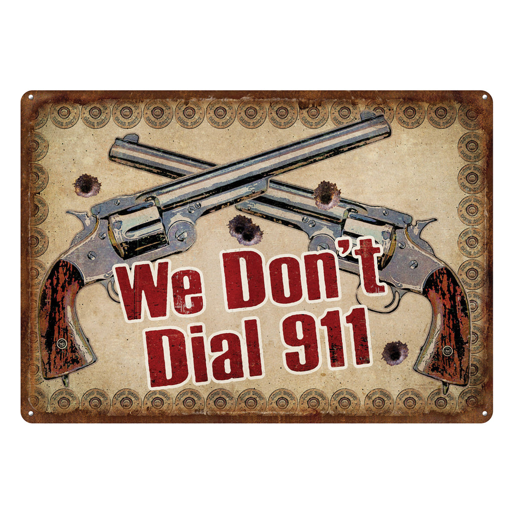 Metal Tin Signs, Funny, Vintage, Personalized 12-Inch x 17-Inch - Dial 911
