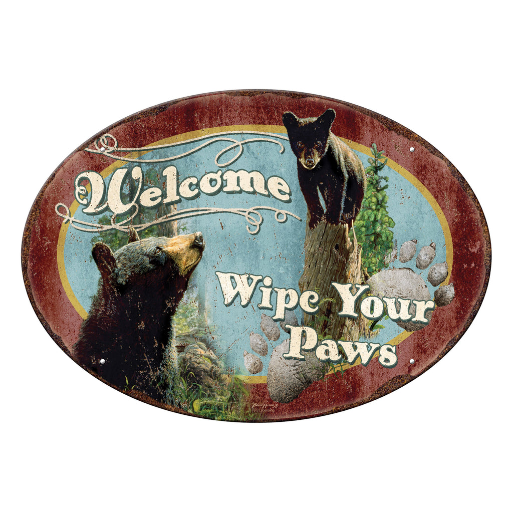 Metal Tin Signs, Funny, Vintage, Personalized 12-Inch x 17-Inch - Wipe Your Paws