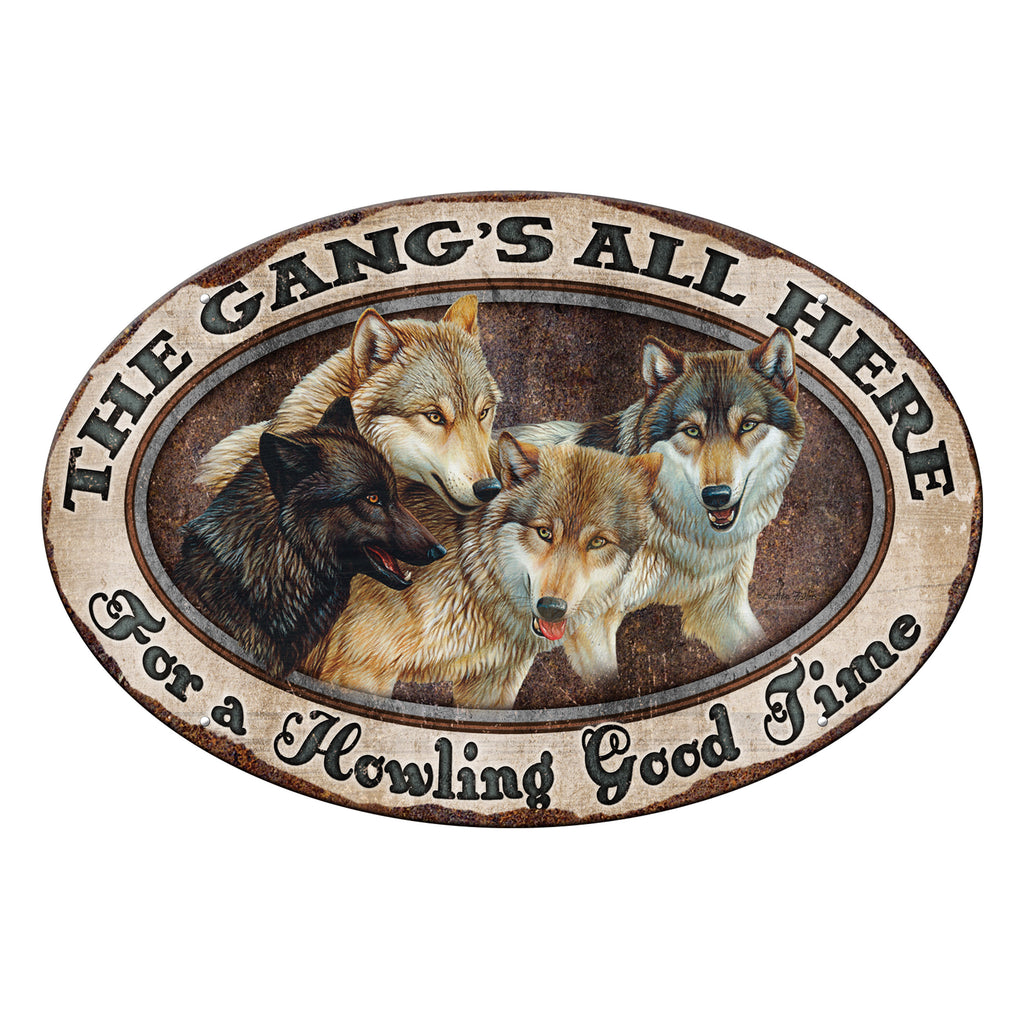 Metal Tin Signs, Funny, Vintage, Personalized 12-Inch x 17-Inch - Gangs all Here