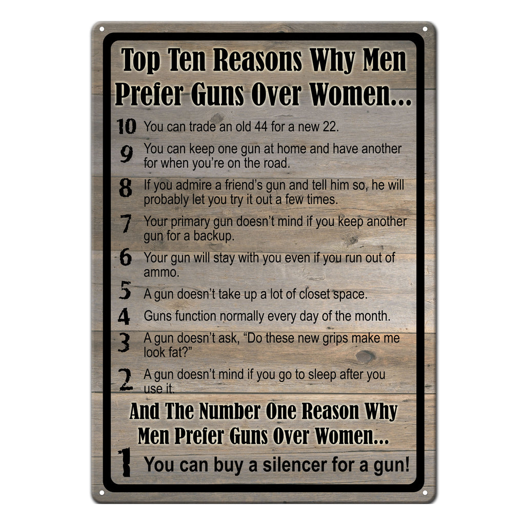 Metal Tin Signs, Funny, Vintage, Personalized 12-Inch x 17-Inch - Gun over Women