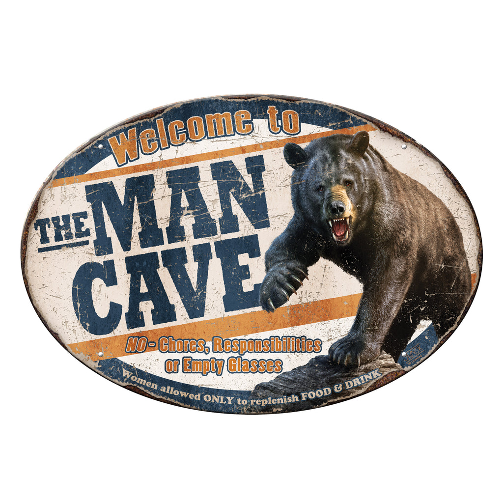 Metal Tin Signs, Funny, Vintage, Personalized 12-Inch x 17-Inch - Bear Man Cave