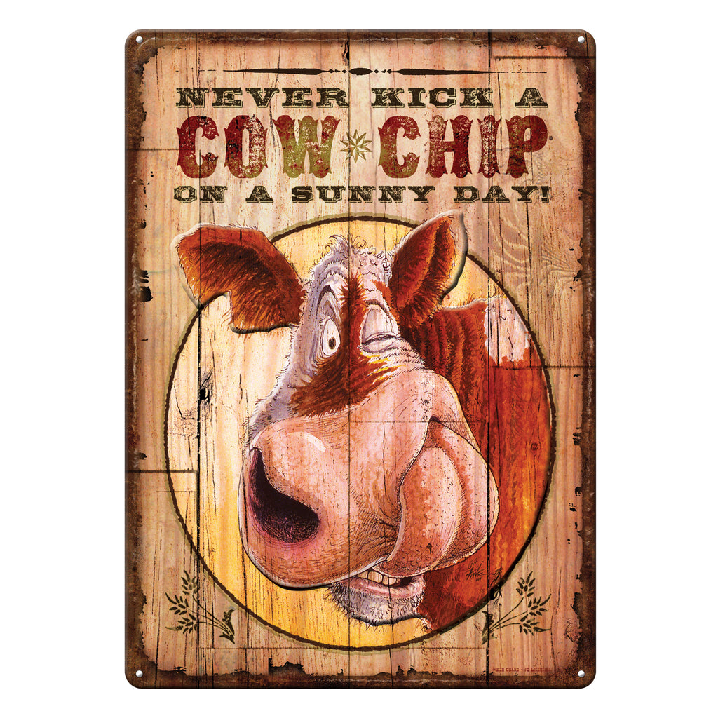 Metal Tin Signs, Funny, Vintage, Personalized 12-Inch x 17-Inch - Never Kick A Cowchip