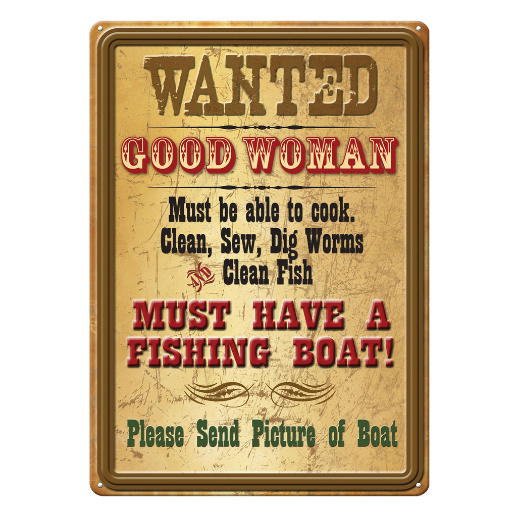 Metal Tin Signs, Funny, Vintage, Personalized 12-Inch x 17-Inch - Wanted Good Woman