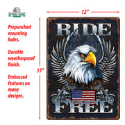 Tin Sign 12in x 17in - Ride Free