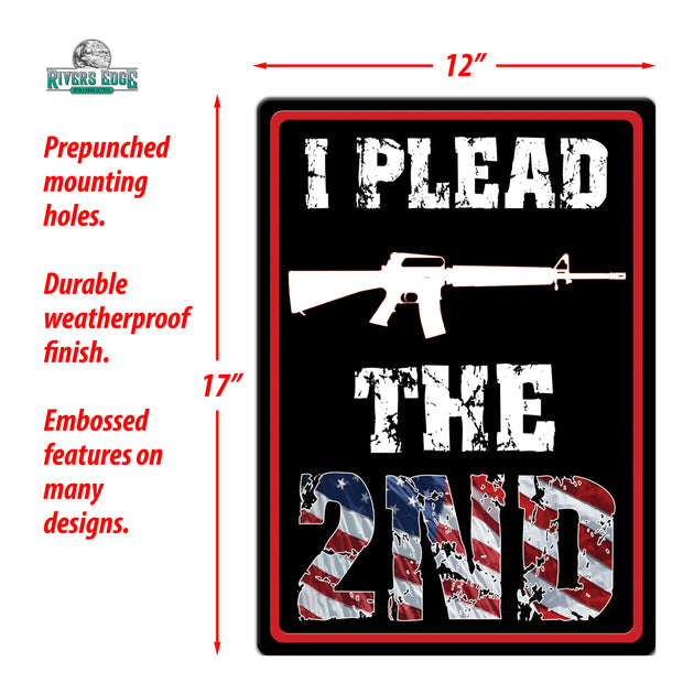 Tin Sign 12in x 17in - Plead the 2nd