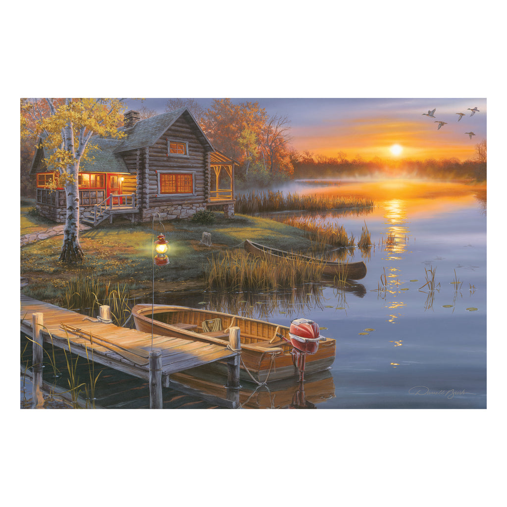 LED Art 24-inches by 16-inches - Lake Cabin