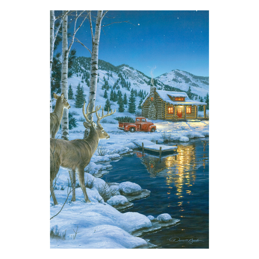 LED Art 24-inches by 16-inches - Cabin Deer
