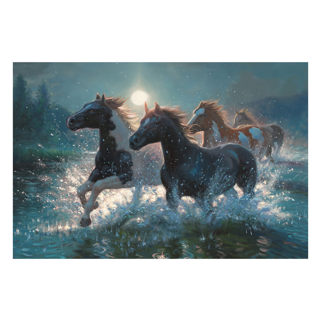 LED Art 24-inches by 16-inches - Horses/Water