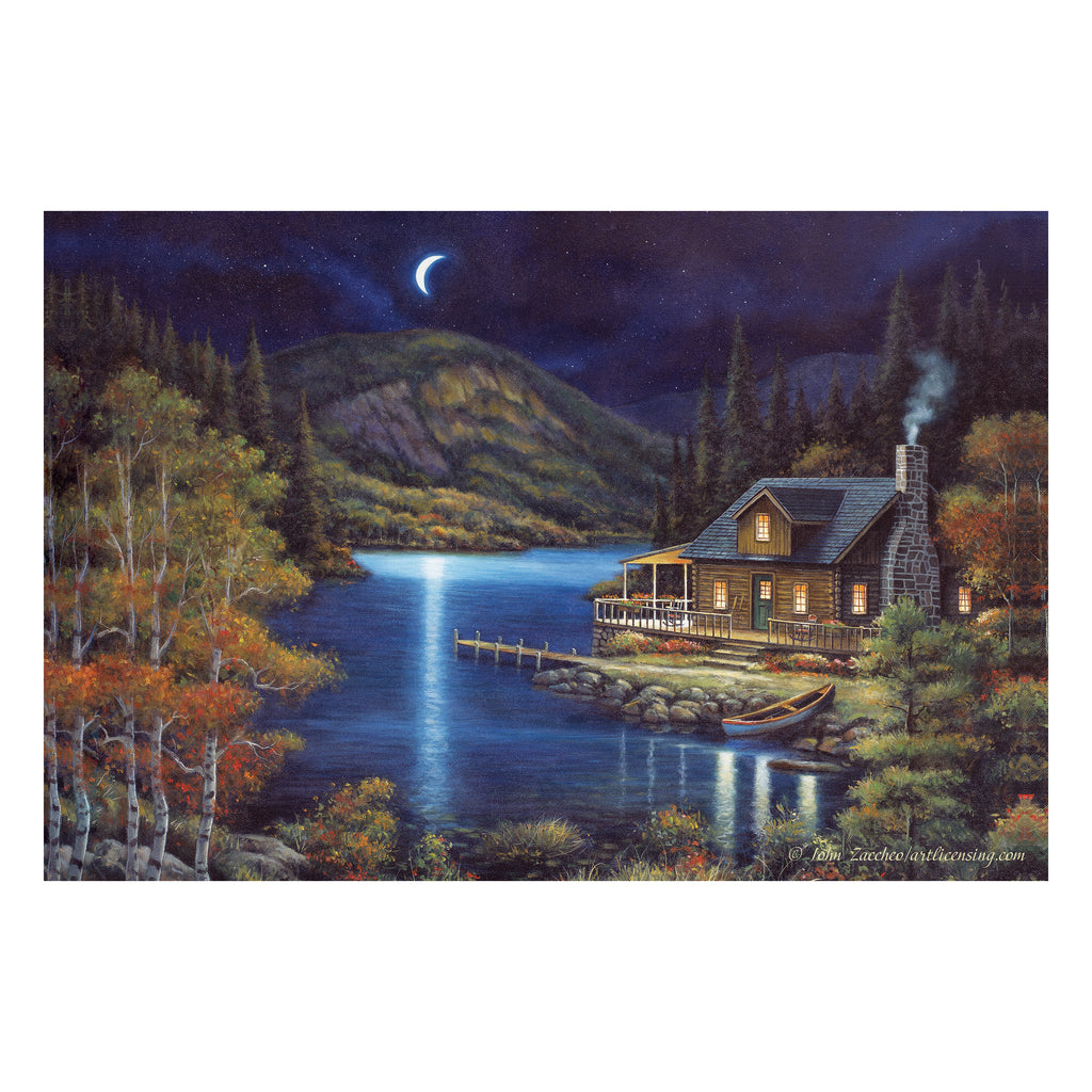LED Art 24-inches by 16-inches - Moonlit Cabin