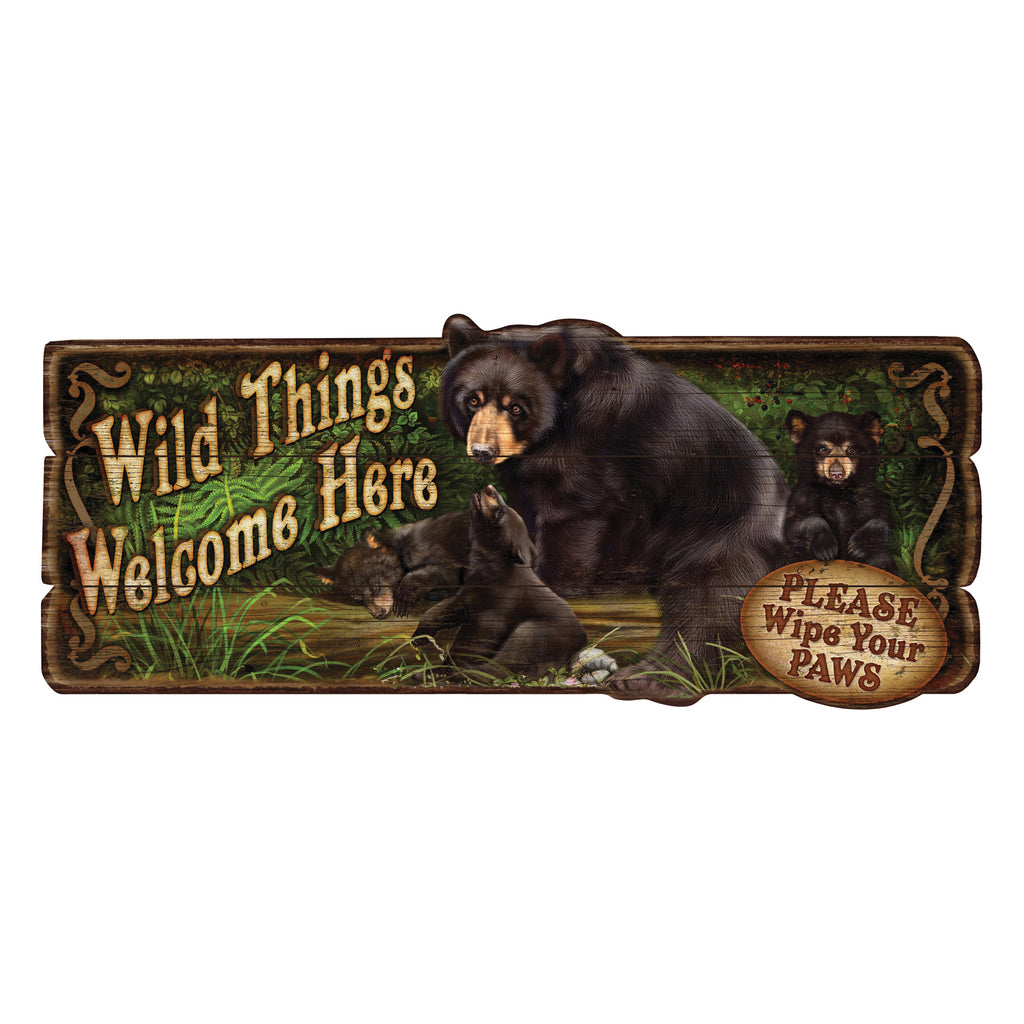 Wood Sign 34in x 14in - Wild Things Bear