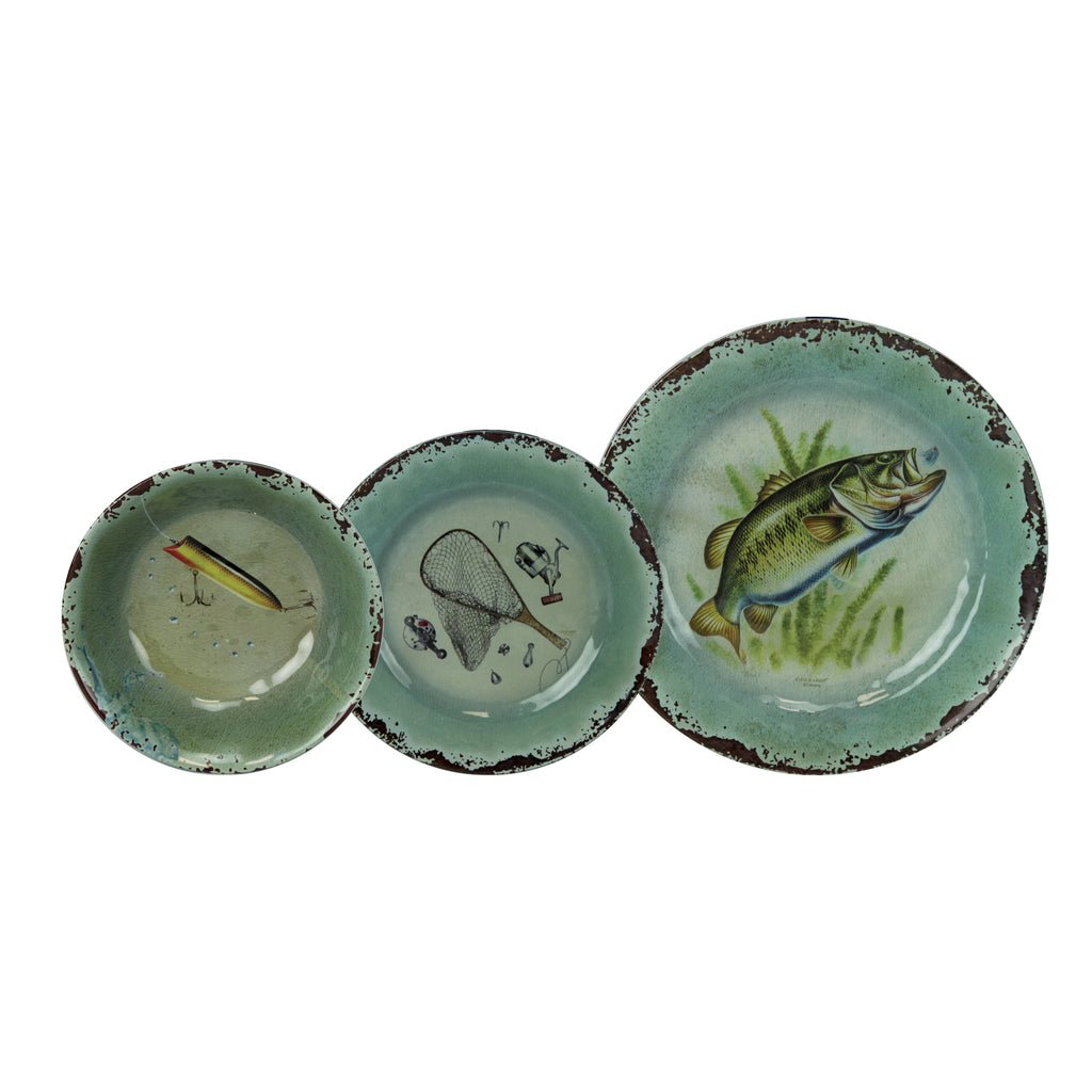 Dinnerware Set 12-Pc Melamine - Fish