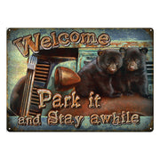 Tin Sign 12in x 17in - Park It Bear