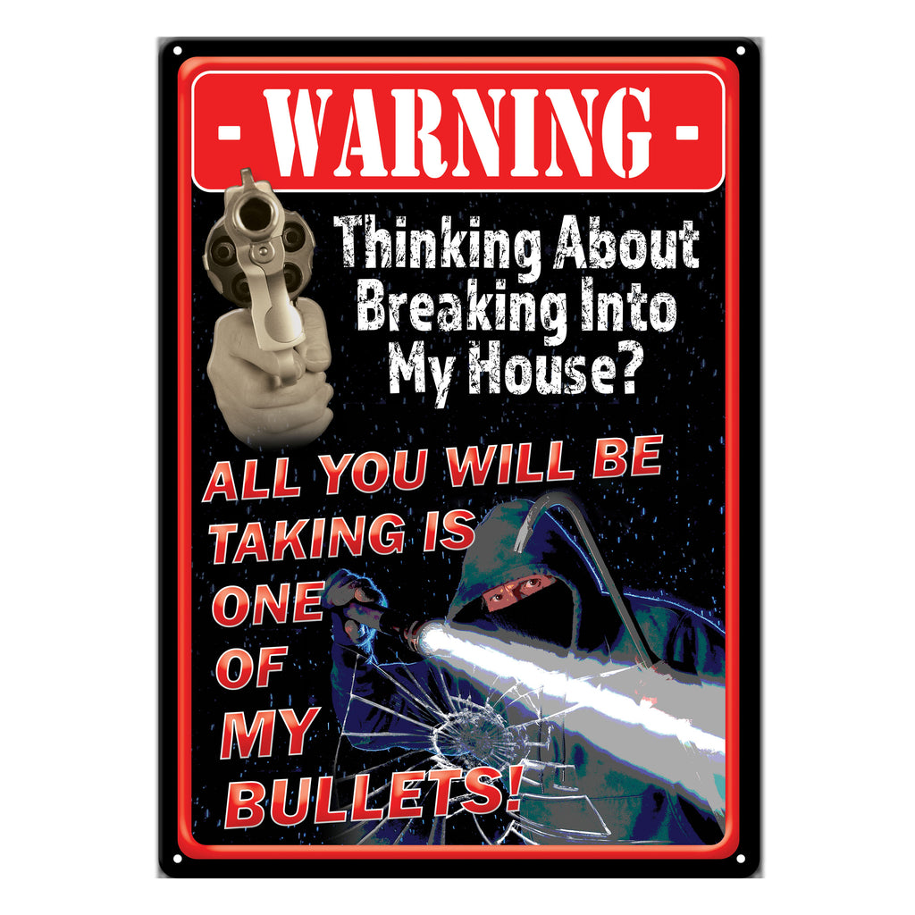 Metal Tin Signs, Funny, Vintage, Personalized 12-Inch x 17-Inch - Take A Bullet