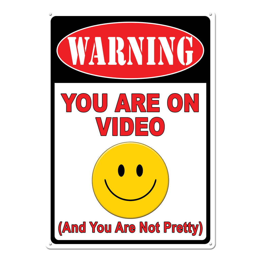 Metal Tin Signs, Funny, Vintage, Personalized 12-Inch x 17-Inch - Warning On Video
