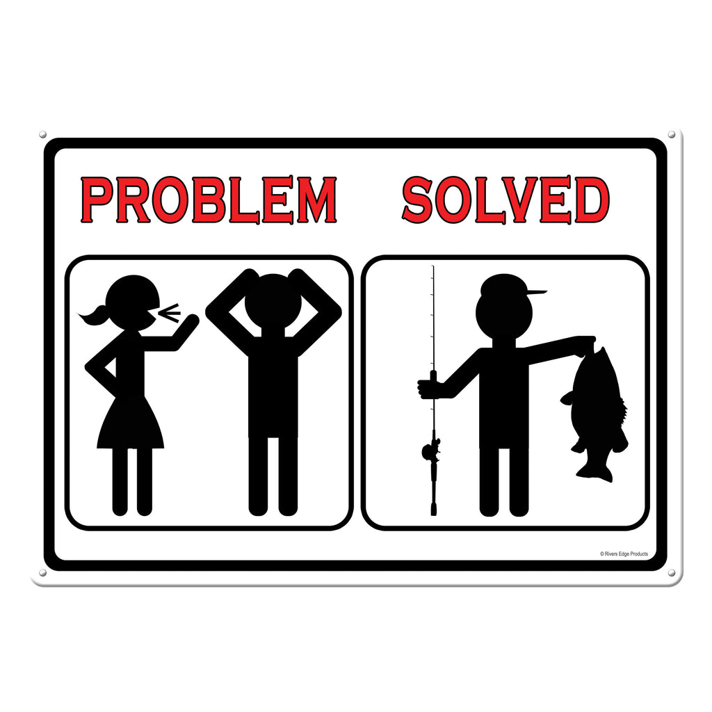 Metal Tin Signs, Funny, Vintage, Personalized 12-Inch x 17-Inch - Problem Solved Fish