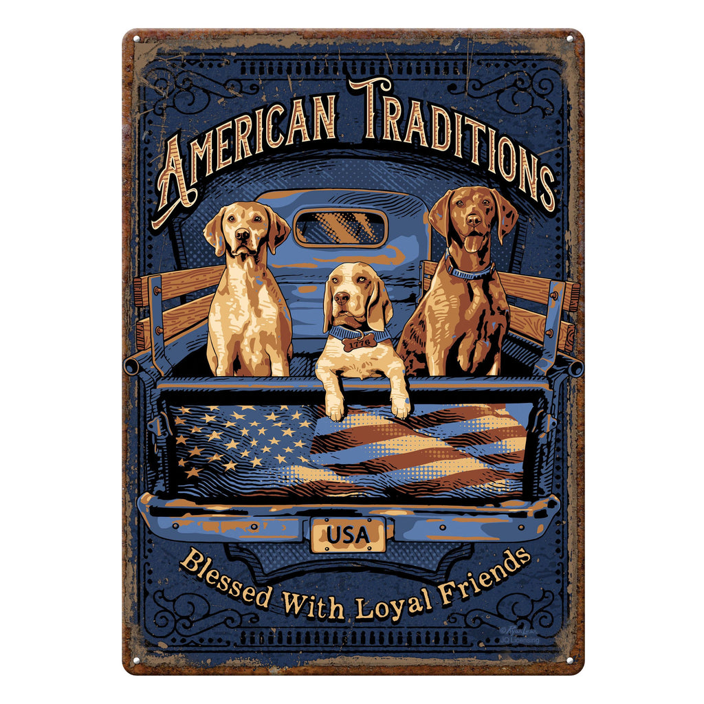 Metal Tin Signs, Funny, Vintage, Personalized 12-Inch x 17-Inch - American Tradition Dogs