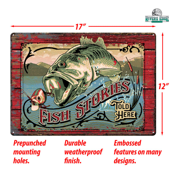 Tin Sign 12in x 17in - Fish Stories