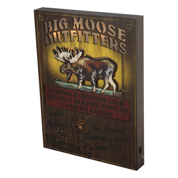 Wall Sign LED - Moose Outfitter