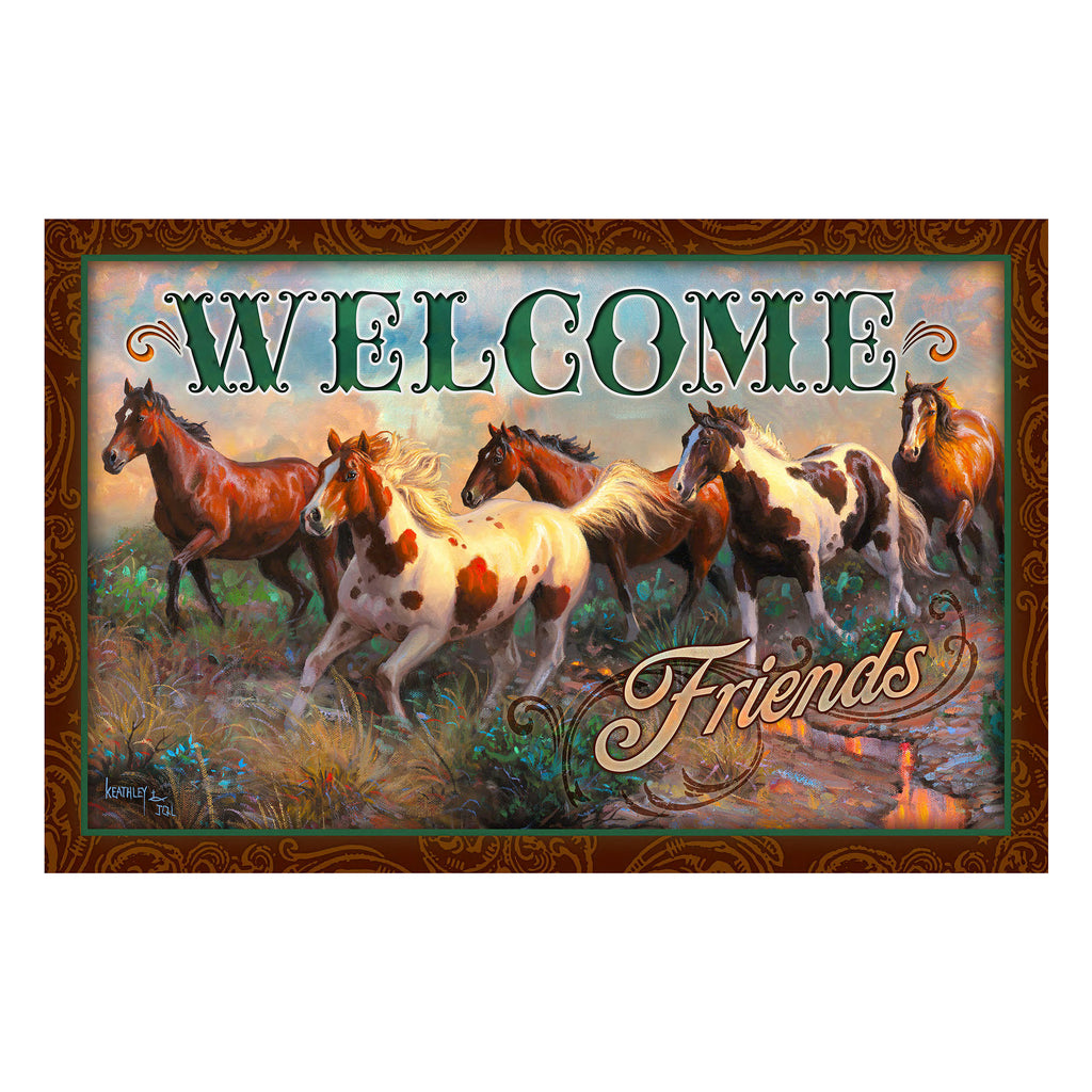 Door Mat Rubber 26-inches by 17-inches - Welcome Horse