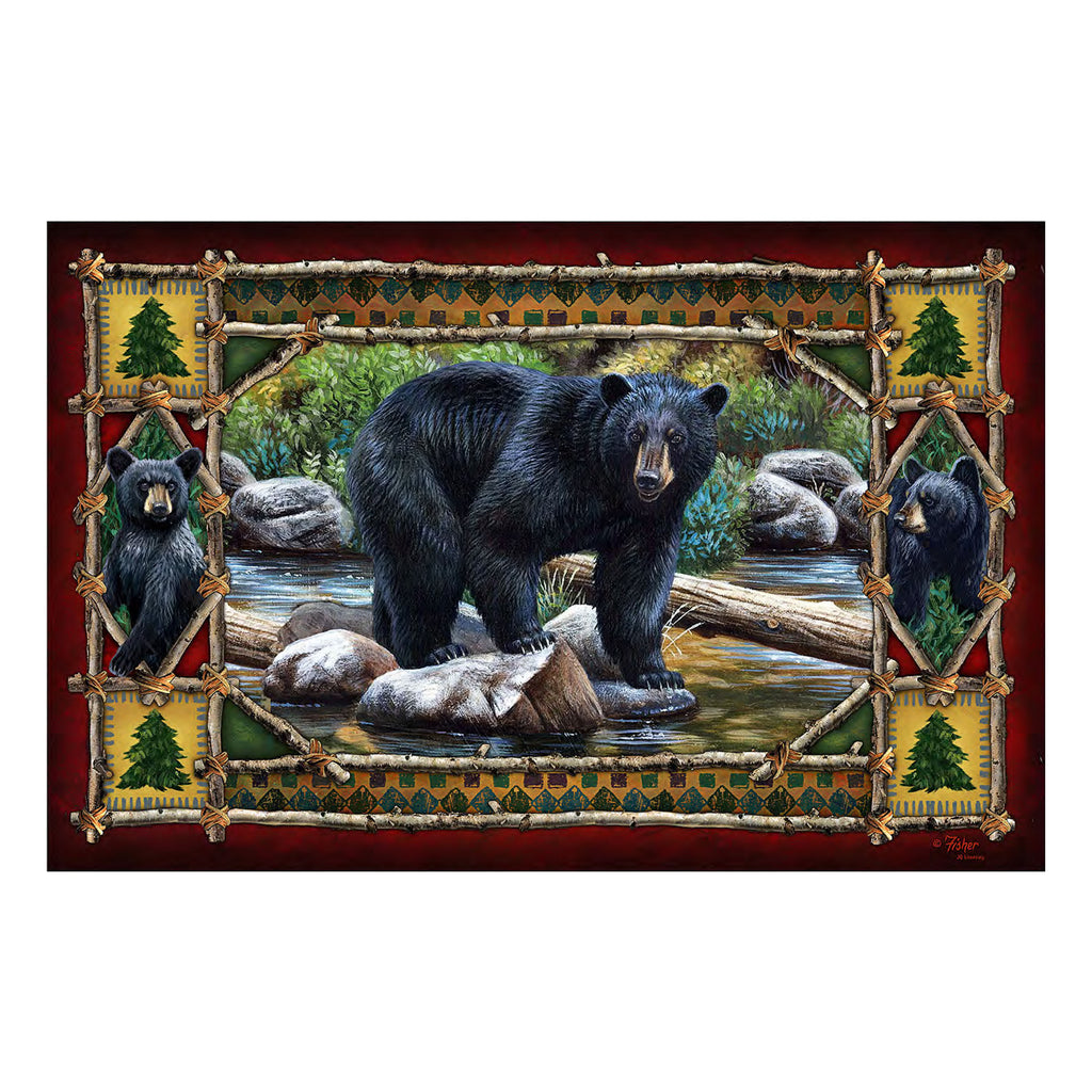 Door Mat Rubber 26-inches by 17-inches - Bear Scene
