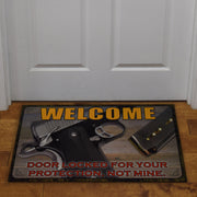 Door Mat Rubber 26in x 17in - Door Locked