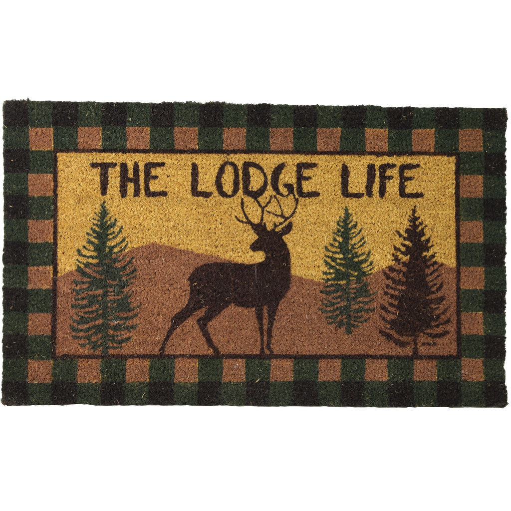 Coir Door Mat 30in x 18in - Lodge Life Deer