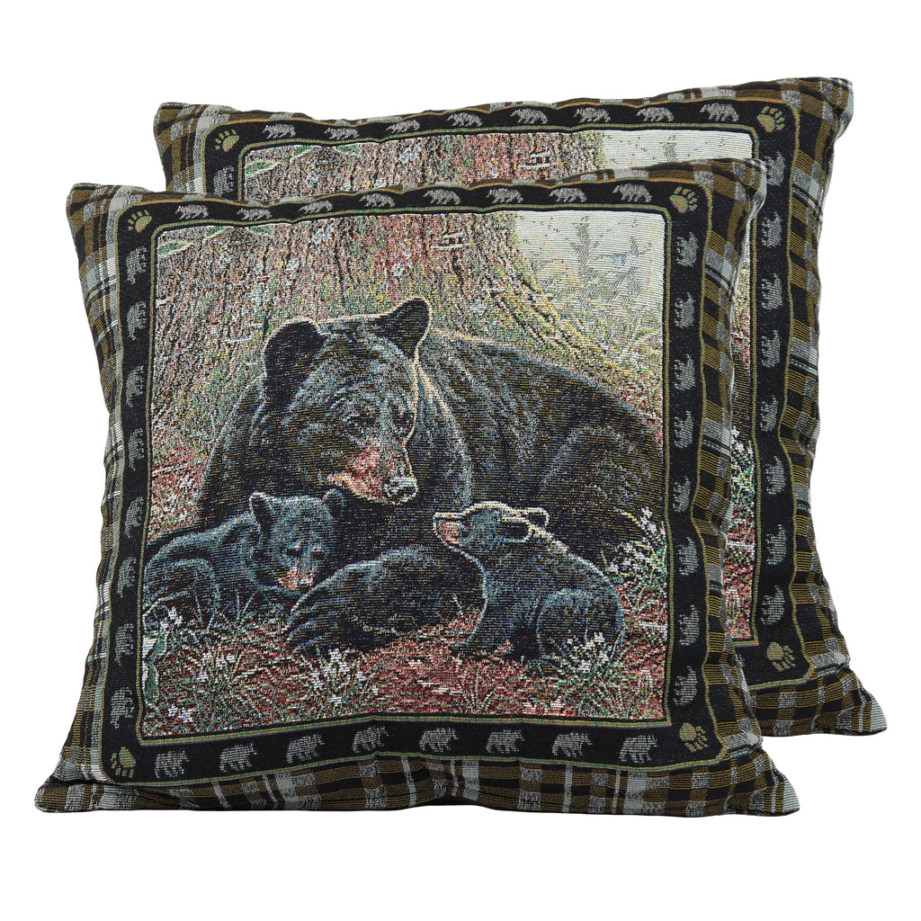 Tapestry Pillow 18in - Bear 2pk