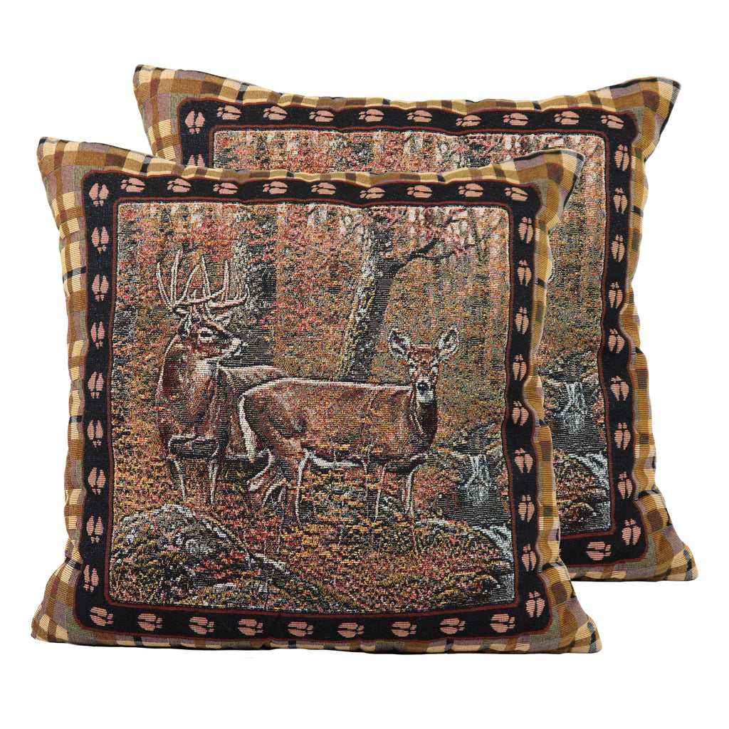 Tapestry Pillow 18in - Deer 2pk
