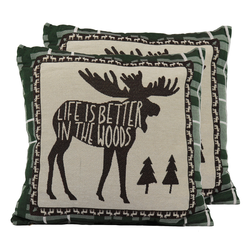 Tapestry Pillow 18in - Moose 2pk