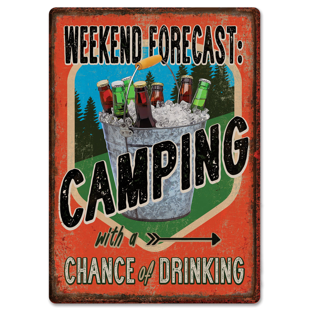 Metal Tin Signs, Funny, Vintage, Personalized 12-Inch x 17-Inch - Forecast Camping