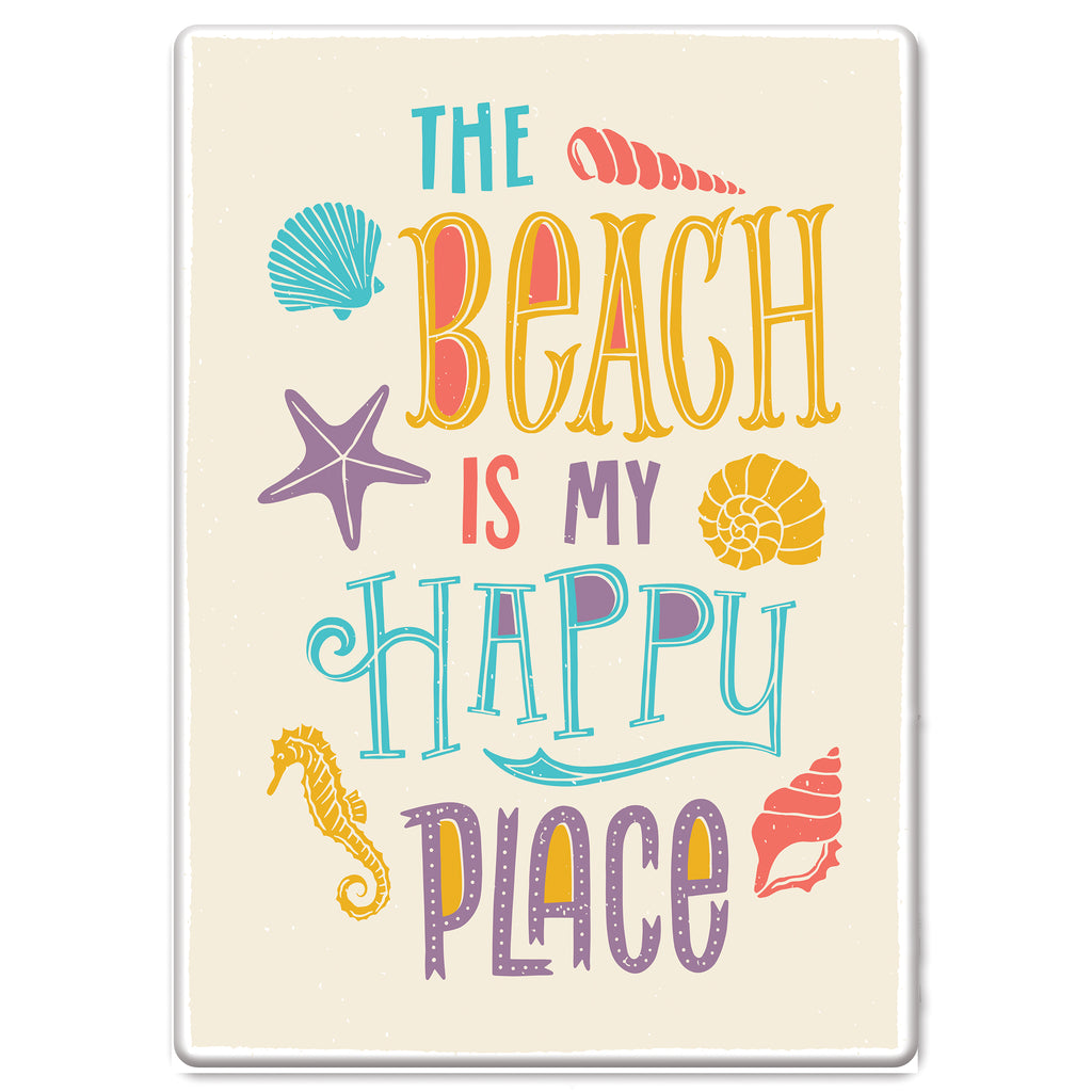 Metal Tin Signs, Funny, Vintage, Personalized 12-Inch x 17-Inch - Beach Happy