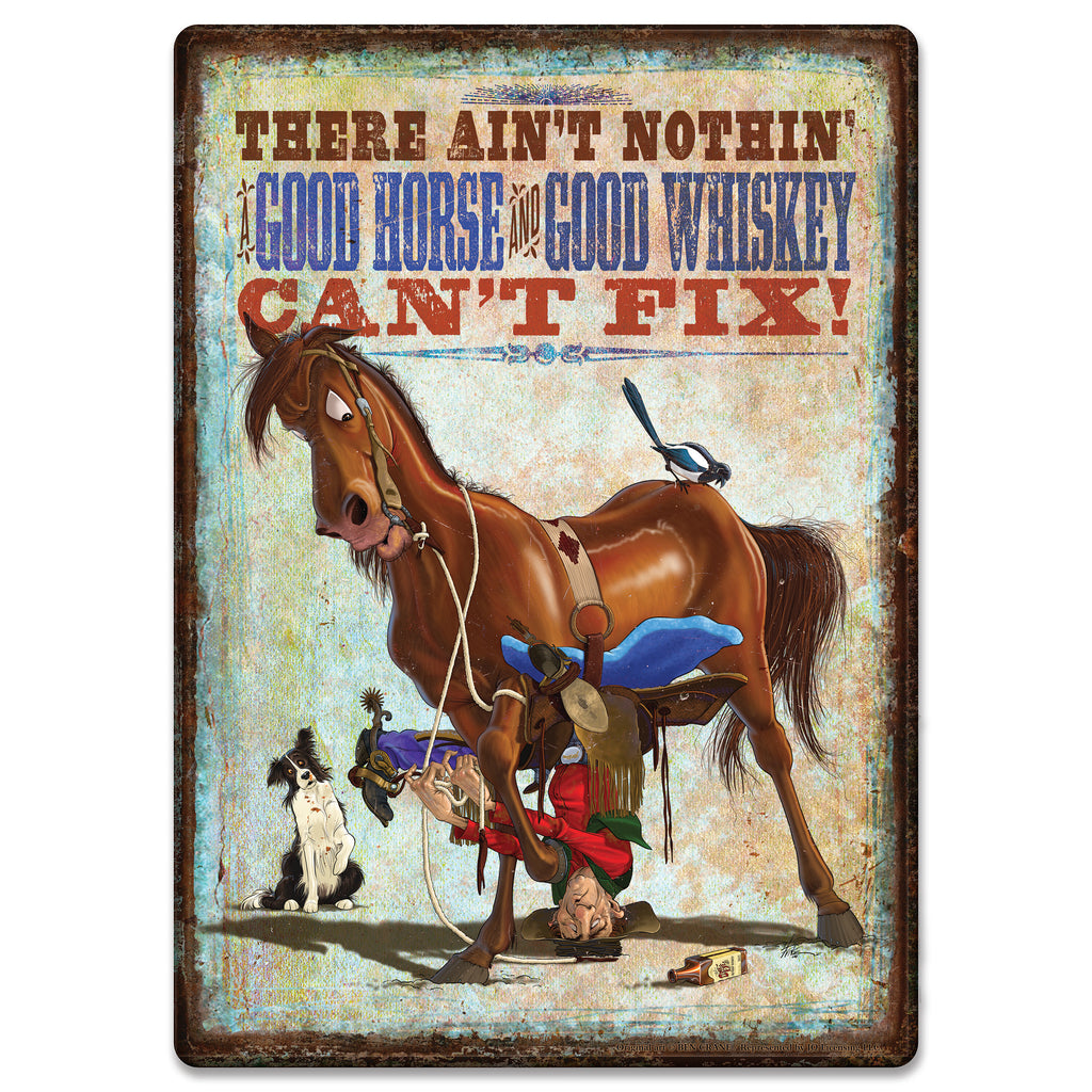 Metal Tin Signs, Funny, Vintage, Personalized 12-Inch x 17-Inch - Horse Whiskey