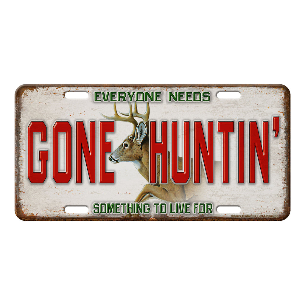 Vanity License Plate 12in x 6in - Gone Huntin'