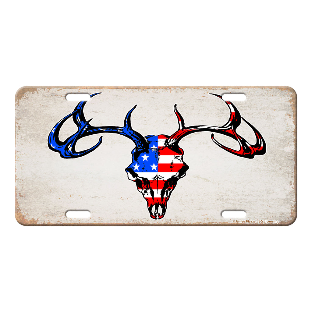 Vanity License Plate 12in x 6in - Deer - Red, White, Blue