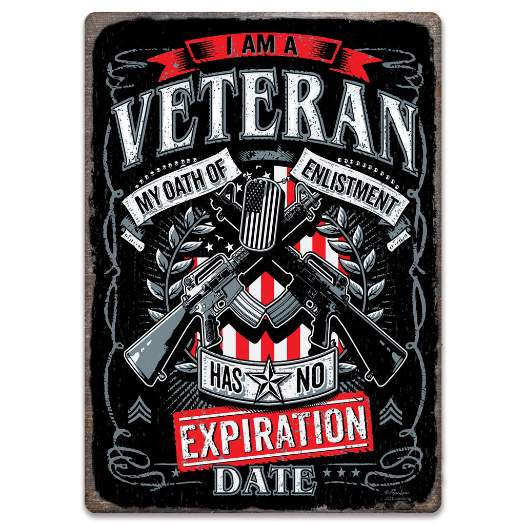 Metal Tin Signs, Funny, Vintage, Personalized 12-Inch x 17-Inch - Veteran Oath