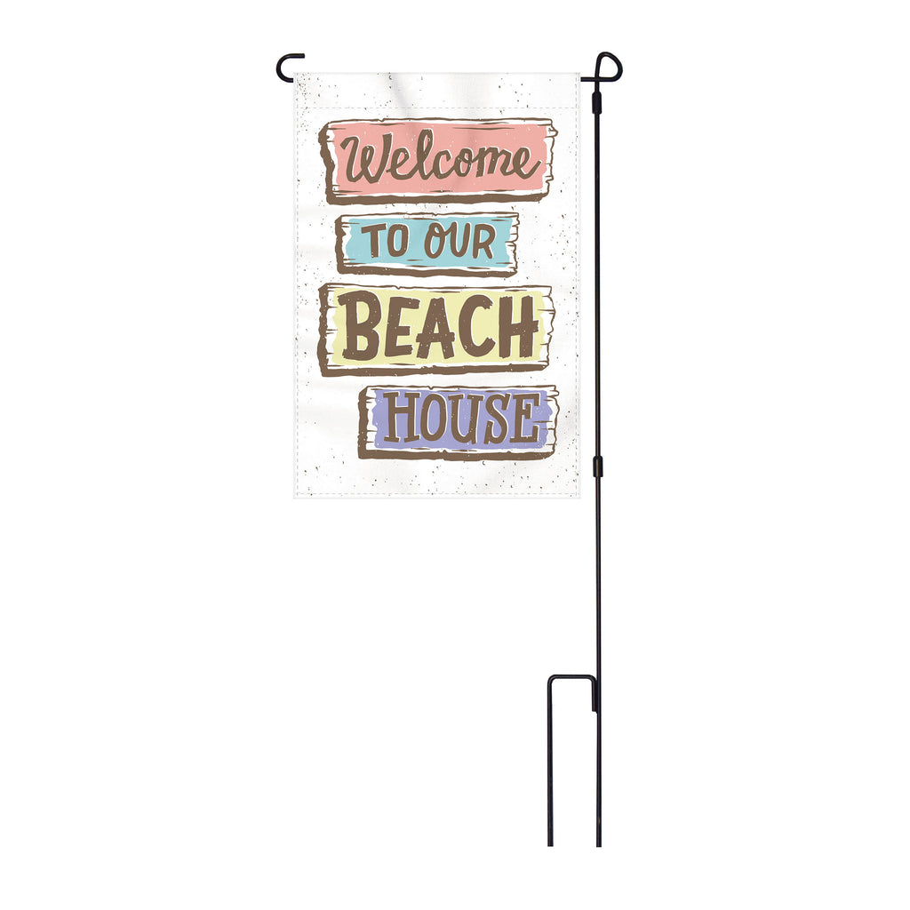 River's Edge Products Lawn Yard Decor Double Sided Flag 14-Inch x 22-Inch with Pole - Welcome to our Beach House